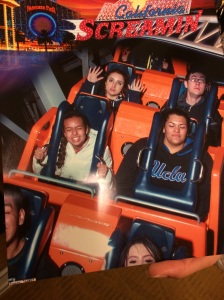 Me and my beautiful cousin Tina on California Screamin'! The people behind us look quite frightening...don't you think?