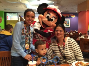 Me, Mom, John and Minnie Mouse.
